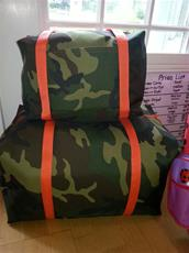 Green Camo with orange straps Travel Bags 3 sizes!