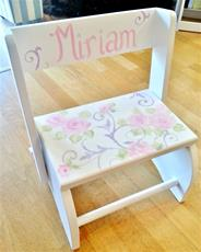 Damask and Roses Hand Painted Large Flip Stool