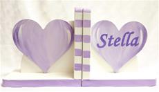 Hand Painted Bookends Hearts Lavender