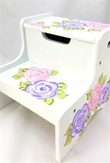 Double Step Stool with Mod Roses