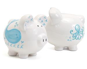 Blue Whale Personalized Piggy Bank