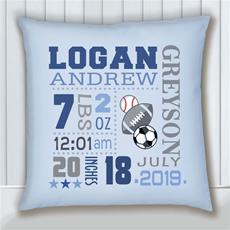 Birth Stats Pillow Sports Blue