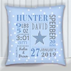 Birth Stats Pillow Star Dottie Blue