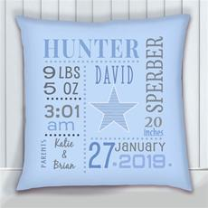 Birth Stats Pillow Star Blue