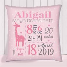 Birth Stats Pillow Mod Giraffe Pink