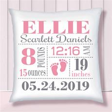 Birth Stats Pillow Baby Feet Pink on White