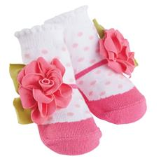 Pink Dot Flower Baby Socks