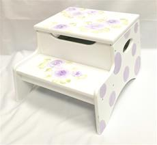 Double Step Stool Storage - Roses and PolkaDots