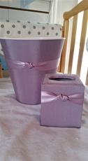 Fabric Covered Waste Basket - Lavender Silk with Lavender ribbon