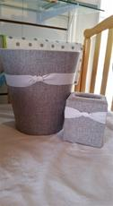 Fabric Covered Waste Basket - Grey Linen with White Ribbon