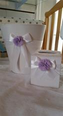 Fabric Covered Waste Basket - White Line with White Bow