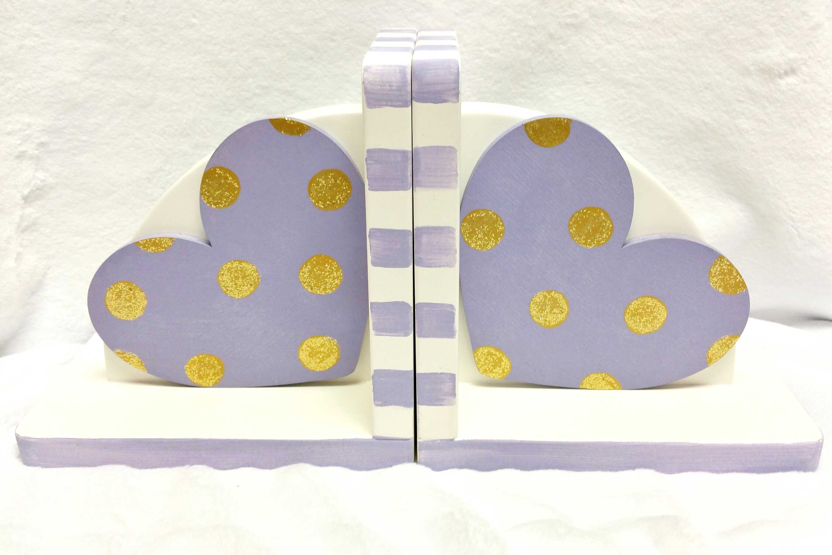 Hand Painted Bookends Hearts With Dots Lavender And Gold