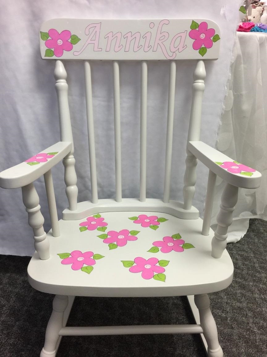 Hot Pink Flower Personalized Rocking Chair