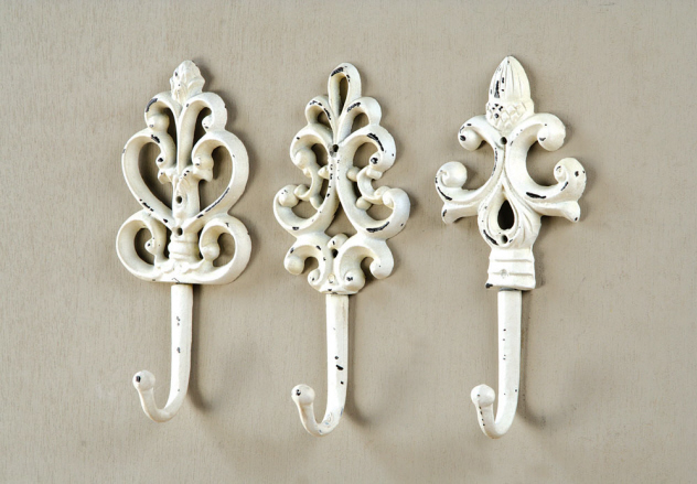 Cream Wall Hooks   Set Of 3